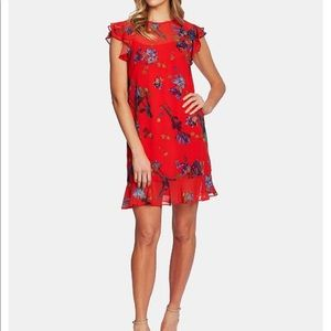 CeCe red floral short sleeve mini dress